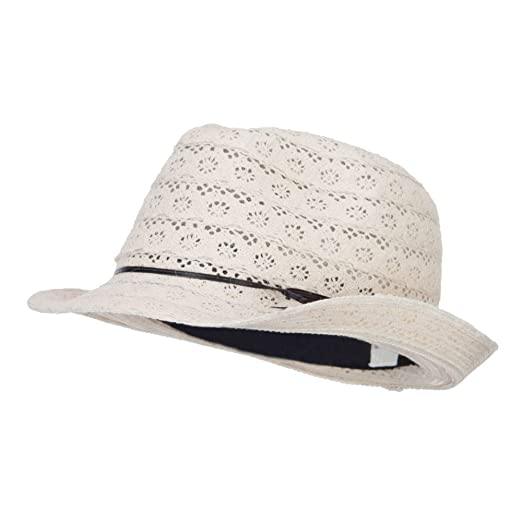 54409b636 Amazon.com: Jeanne Simmons Girl's Cotton Lace Fedora - Cream OSFM ...