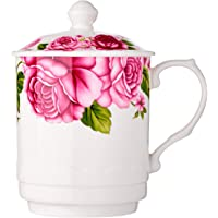 Cheng's J320/3.6 Porcelain Mug with Cover, 400 ml, Pink Roses