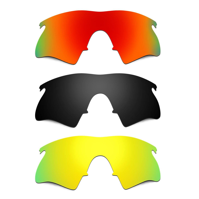 Hkuco Plus Mens Replacement Lenses For Oakley M Frame Heater Red/Black/24K Gold Sunglasses