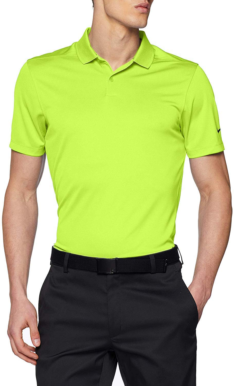 Nike Mens Dry Victory Solid Golf Polo (Volt/Black, Medium ...