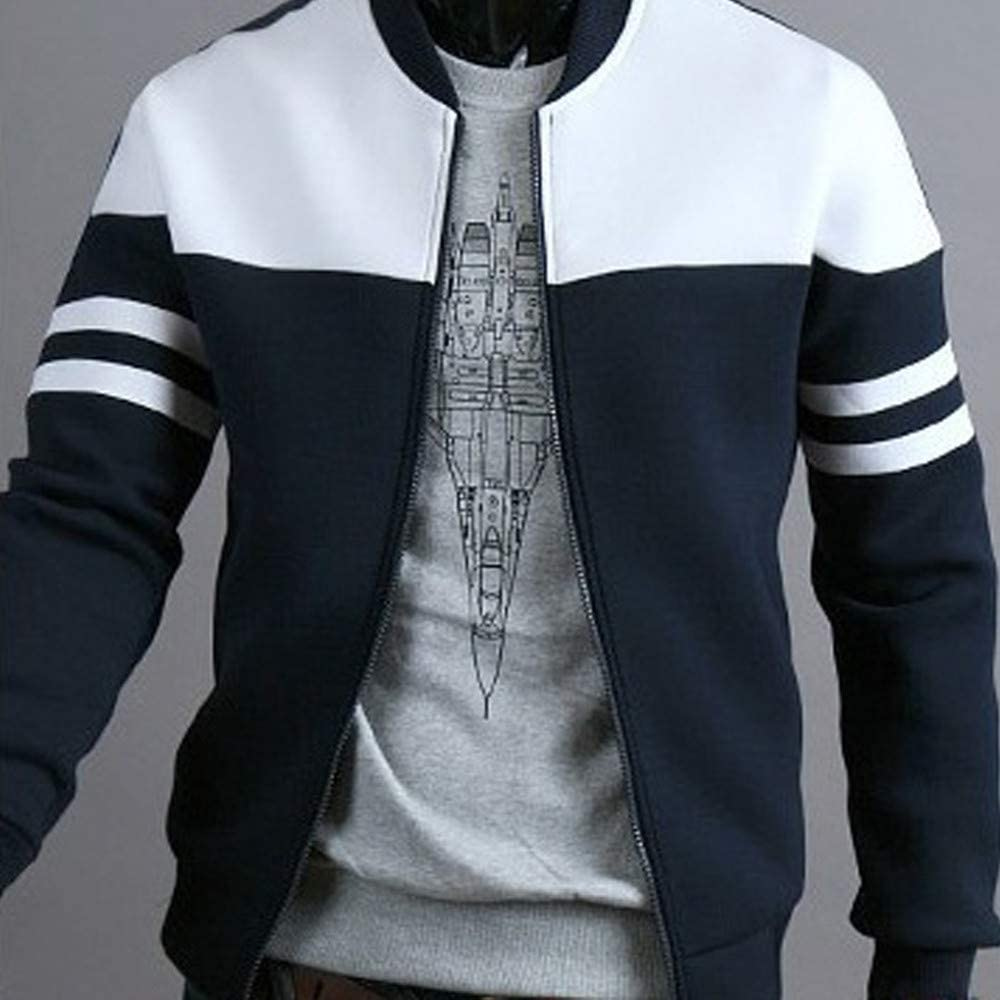 Mens Outdoor Casual Diagonal Color Zipper Jacket Tops Autumn Winter Sportswear Patchwork Jacket Long Sleeve Coat