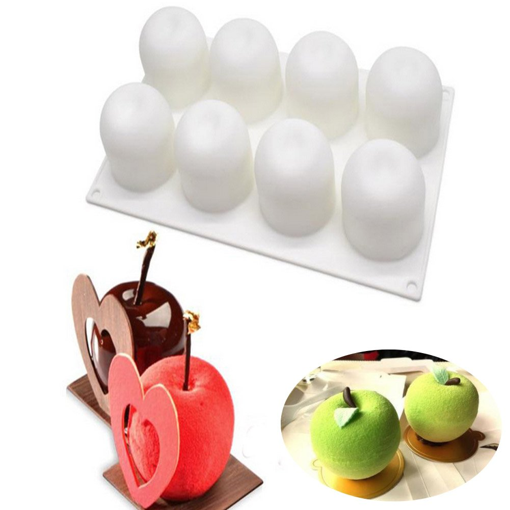 3D Apple Shape Nonstick Silicone Cake Chocolate Fondant Mold, Christmas Eve Decorating Bakeware/DIY Mousse Cake /French Dessert/ Pastry Baking/Ice Tools Sakolla