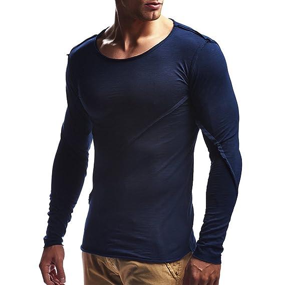 OHQ_Camisa Hombre Blusa OtoñO Moda 2018 Color Puro Conjunto Largo con Capucha Sudaderas Mangas Blusa Pantalones Ropa Interior Chaleco Tapas Camisas Polo ...