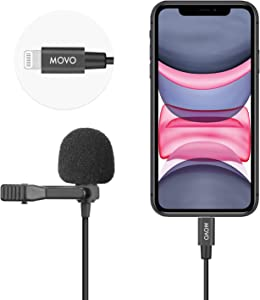 Movo iLav Digital Lavalier Omnidirectional Clip on Microphone with MFi Certified Lightning Adapter - Works with iOS Devices - Lapel Interview Mic for iPhone, iPad, MacBook and More