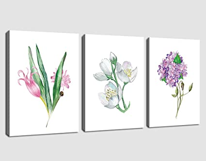 Canvas Wall Art Flowers Painting Picture Prints Simplicity Colorful Blossom Artwork Simple Life Watercolor Contemporary