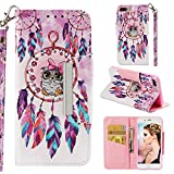 for iPhone 7 Plus/8 Plus Wallet Case with Card Holder and Screen Protector,QFFUN Elegant Design [Dreamcatcher Owl] Magnetic Stand Leather Phone Cases Etui Bumper Flip Cover with Lanyard