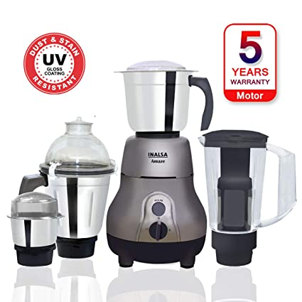 1254e965921 Buy Inalsa Amaze 750-Watt Mixer Grinder with 4 Jars (Grey) Online at Low  Prices in India - Amazon.in