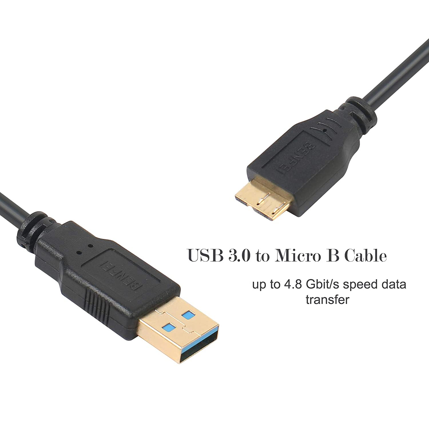 USB 3.0 Micro Cable Note 3//N9000 000212black-2p Charging Samsung Galaxy S5 HD Camera Benfei 2 Pack USB 3.0 A to Micro B Cable Male to Male 2.5 Feet Compatible External Hard Drive