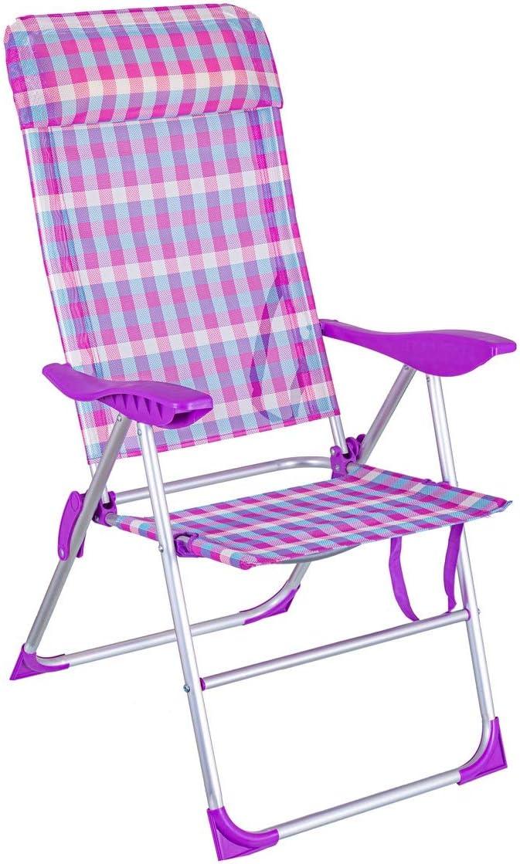 LOLAhome Silla Plegable con cojín para la Playa 5 Posiciones (Rosa y Violeta)