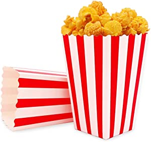 Popcorn Favor Boxes, Cardboard Popcorn Candy Containers for Movie Nights Movie-Themed Carnival Parties, Red and White Striped Parties Supplies for Theater Decorations (Set of 100)