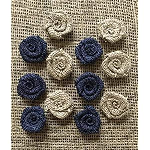 """Set of 12 One Inch Mini Burlap Flowers Natural and Navy 1"""" Cake Topper Decoration Table Gift Decor 10"""