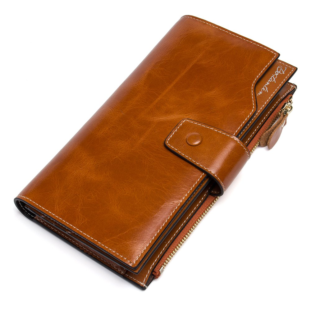 BOSTANTEN Womens Wallet Genuine Leather Wallets Large Capacity Cash Cluth Purses with Zipper Pocket (2-brown)