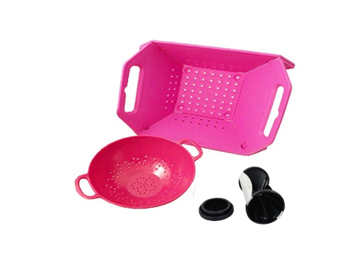 Top Vegetable Spiraler Cutter Slicer Collapsible Retangular Colander Gift Sets with Handle Cook Gifts Men Women Wife Set Best Back to School College Supplies (Pink 6'' & Pink Folding 2 Pack + Spiral)