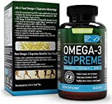 Omega 3 Supreme Strength 1400 mg – High EPA DHA Fish Oil (3 MO. SUPPLY*) 180 Burpless Softgels, MSC Certified & 3rd Party Tested – Improved Absorption