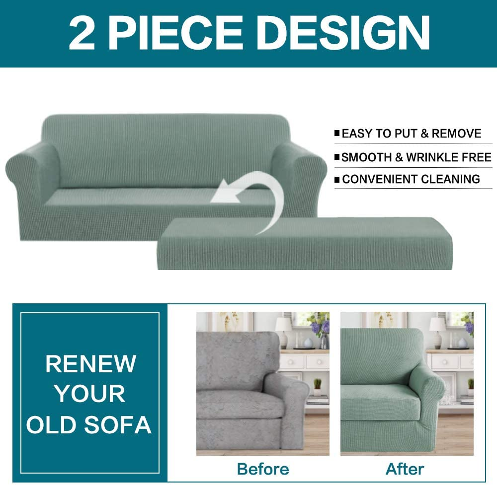 Turquoize Black Sofa Slipcover 4 Seater Couch Cover 2 Piece with Separate Cushion Cover XL Sofa, Black Strapless Slipcover Machine Washable//Skid Resistance Featuring Stretch Jacquard Fabric