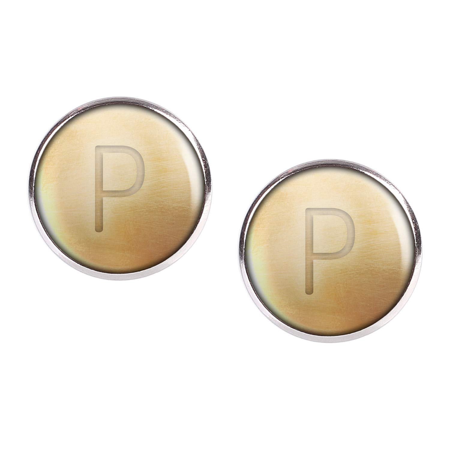 Stud Earring Pair with Cabochon Picture Letters chain letter P silver different sizes