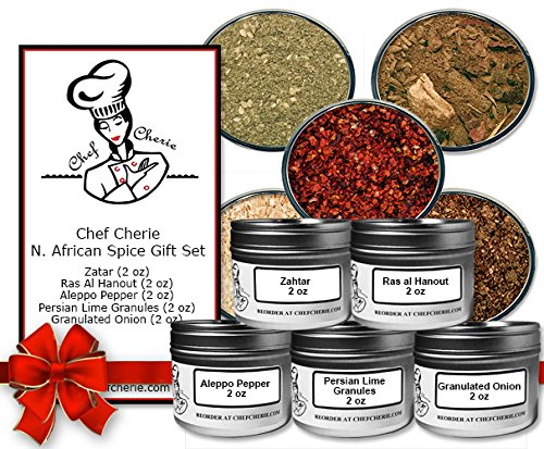 Chef Cherie's North African Spice Gift Set-Contains 5 X 2 oz. Tins