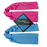 Kyпить Your Choice Cooling Towel - 2 Pack Workout Towel - Instant Chill Down for Yoga Gym Fitness Bowling Sports and Outdoors - Blue and Rose Red 12x40 Inch на Amazon.com