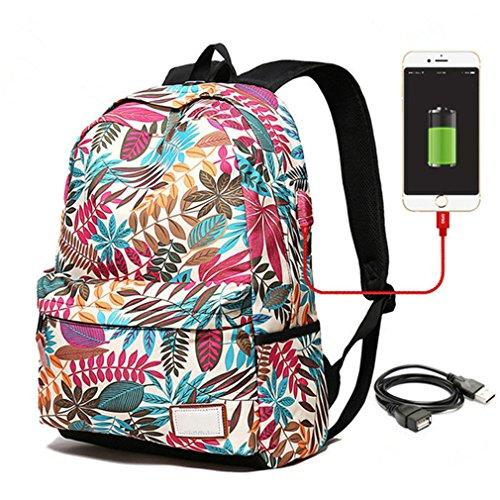 pour d'ordinateur des des le sacs Haoling portable sac d'adolescent femelles à sac femmes dos de Small à imprimant le d'université étudiants pour d'école dos USB chargeant White à filles dos qq0zH4w
