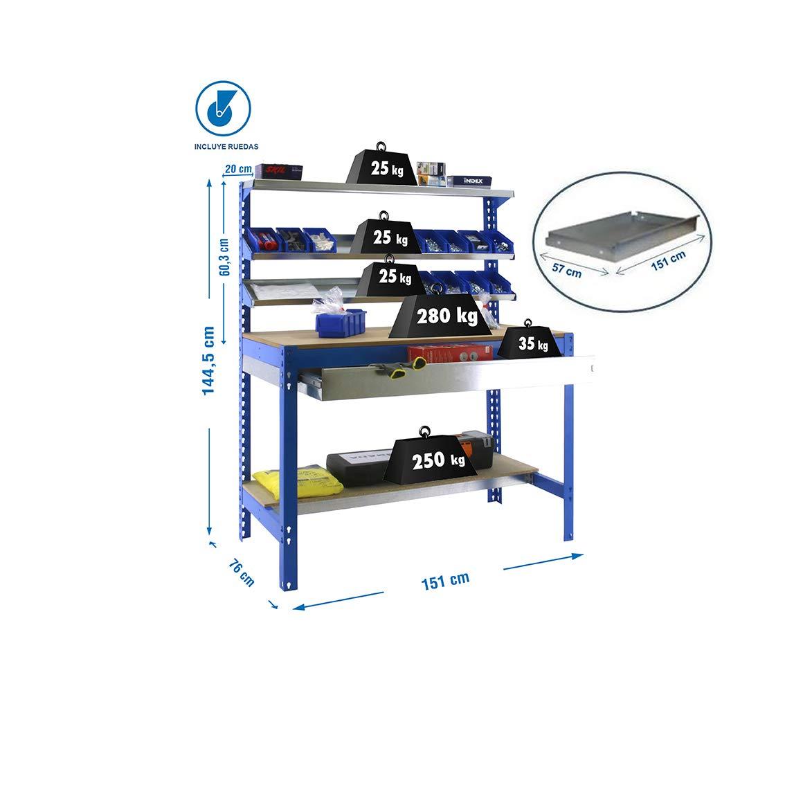 Banco de trabajo BT1 con caj/ón Simonwork Azul//Madera Simonrack 1445x1510x760 mms mesa de trabajo industrial 600 Kgs de capacidad por estante Banco de trabajo resistente