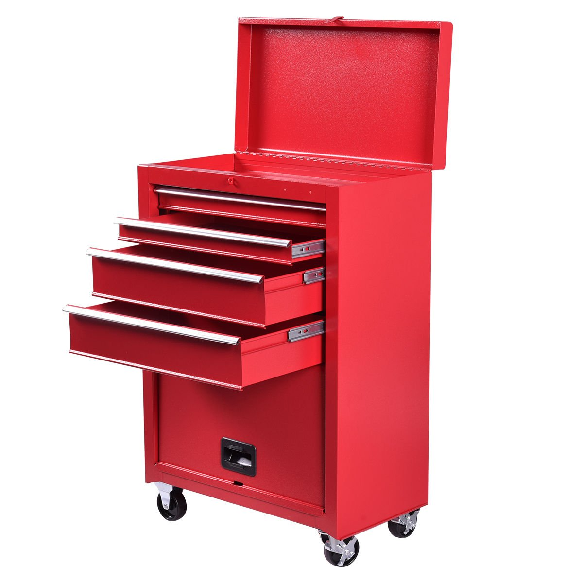 Goplus 22-Inch Steel Chest Roller Rolling Tool Chest Box On Wheels Cart Cabinet Combination w/ 4 Sliding Drawers, Red
