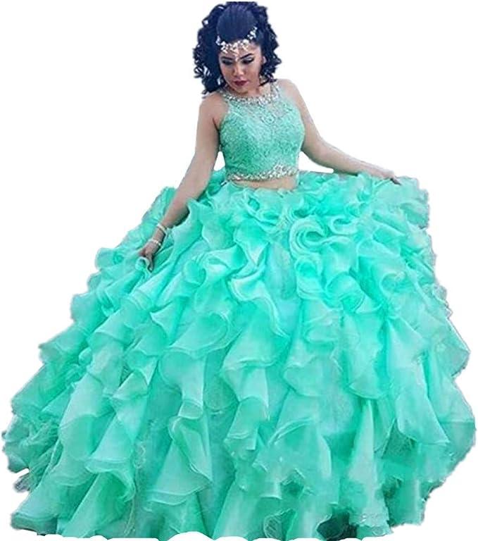Formaldresses Ball Gown Mint Green Quinceanera Dress 2 Piece ...