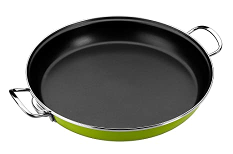 Monix Lima - Paellera 32 cm de acero esmaltado verde con antiadherente Teflon® Classic.