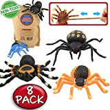 Spider Toy,5 inch Realistic Black Rubber Spiders Toys Set(8 Pack),Food Grade Material TPR Super Stretchy,ValeforToy Creepy Halloween Decoration Party Favors Gag Novelty Practical Jokes Black Widow