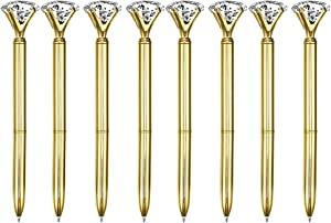 Sun Kea 8 Pcs Metal Ballpoint Pen with Big Diamond/Crystal Office Supplies Gift Black Ink, Magnify Function,Gold
