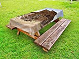 Ambesonne Barn Wood Wagon Wheel Outdoor Tablecloth, Abandoned Mercantile with Wagon Wheels Ghost Town, Decorative Washable Picnic Table Cloth, 58 X 84 inches, Brown Sand Brown Pale Blue