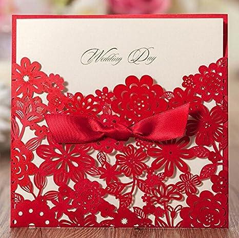 Krismile 12 Red Elegant Handmade Laser Cut Chinese Wedding