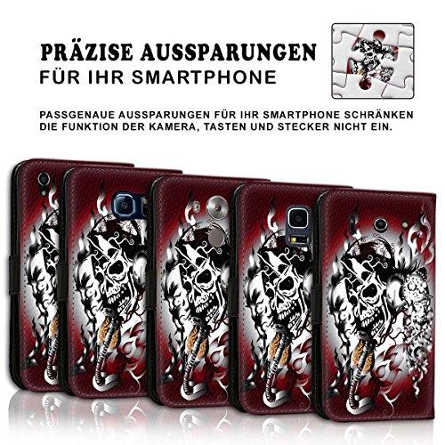 Wallet Book Style Flip Handy Tasche Case Schutz Hülle Schale Motiv Etui für Apple iPhone 5 / 5S - Design Flip MV155