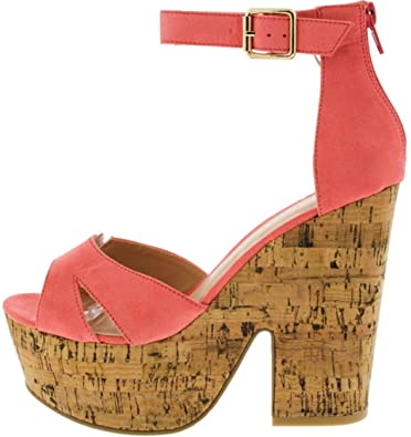 25294350e48603 5 Inch Coral Pink Platform Corkscrew Block High Heel Wedge Sandal Pump Shoe  (6)