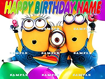Minions Personalized Edible Cake Topper Birthday Party Decor Decoration Premium Frosting Sheet