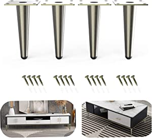 ZongSy Furniture Legs 6 inch Sofa/Chair/Ottoman/TV/Cabinets Legs Pack of 4 Antique Bronze Brushed Nickel Finish for Cabinets Tables Bed feet (6 inch High Straight Legs)