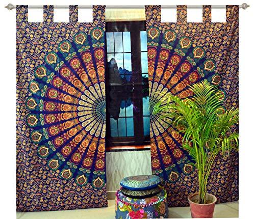 Indian Mandala Curtain Gypsy Bohemian Handmade tie dye Curtains Include 2 Panel Set Mandala Curtain Tapestry Drapes Valances Window Treatment Curtain (Tab Top Curtain -Blue)