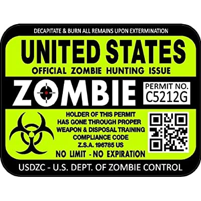 "ProSticker 1200 (Two Pack) 3""x 4"" Zombie Series United States Hunting License Permit Decal Sticker: Automotive"