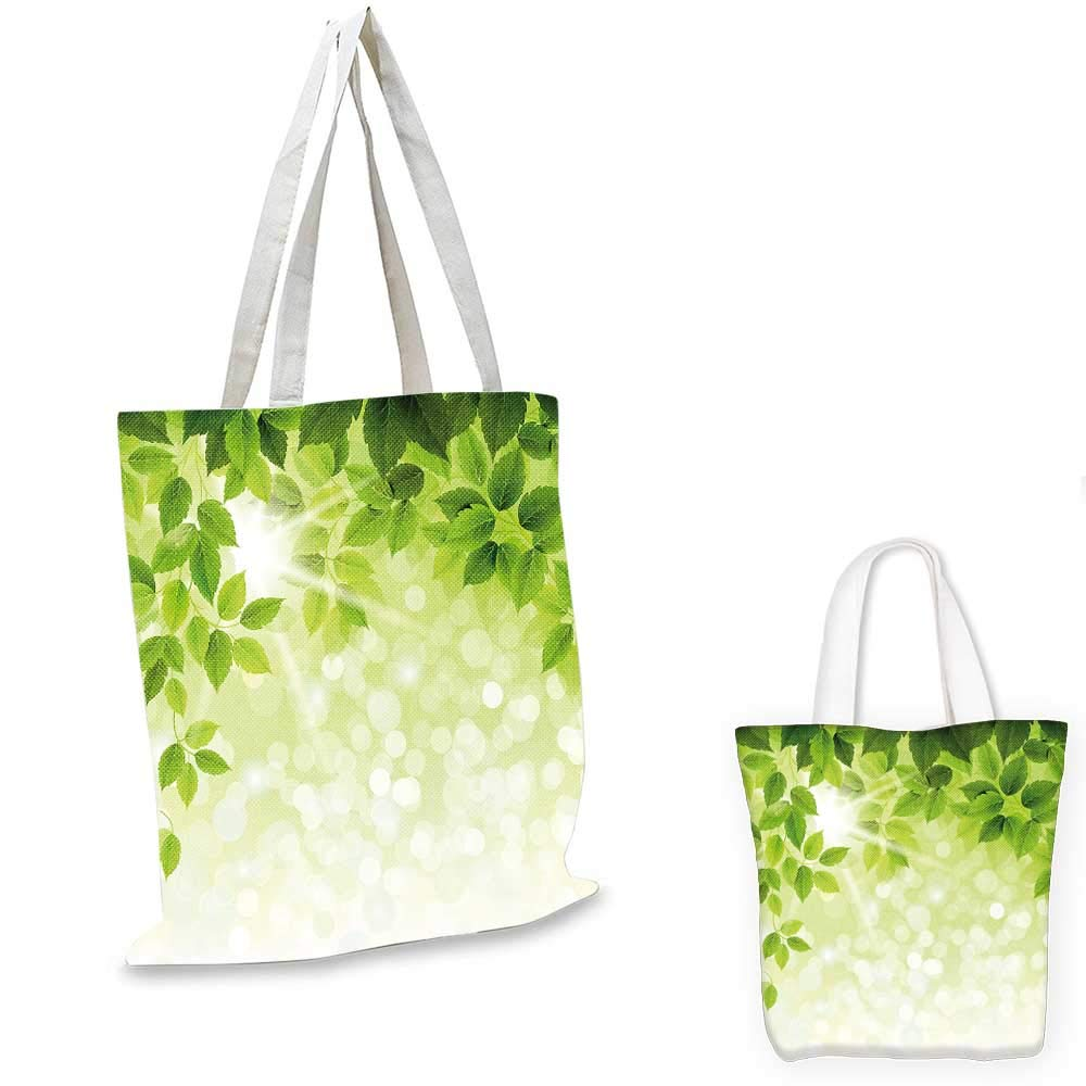 12x15-10 Leaf canvas messenger bag Summer Spring Branch Leaves Foliage on Abstract Backdrop canvas beach bag Forest Green Light Green and Apple Green