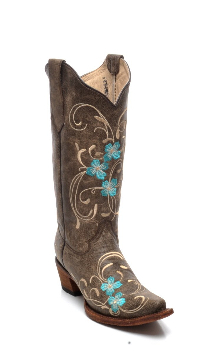 Corral Circle G Boot Women's 12-inch Distressed Leather Floral Embroidery Snip Toe Brown/Turquoise Western Boot B01MSLWZBS 9 B(M) US|Brown
