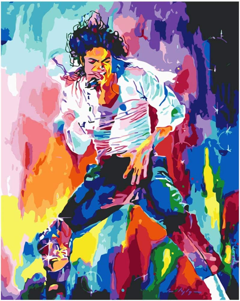 WYTCY Pintar por Números - Colorido Michael Jackson. Pintura Al Óleo De Lienzo De Lino, Pintura De Arte Moderno, Kit De Pintura De Bricolaje, Adecuado para Adultos Y Principiantes40*50CM
