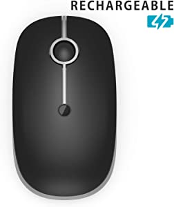 Rechargeable Wireless Mouse, Jelly Comb [Upgrade] 2.4G Slim Noiseless Mouse with 3 Adjustable DPI for Laptop, Notebook,PC, Computer (Silver)