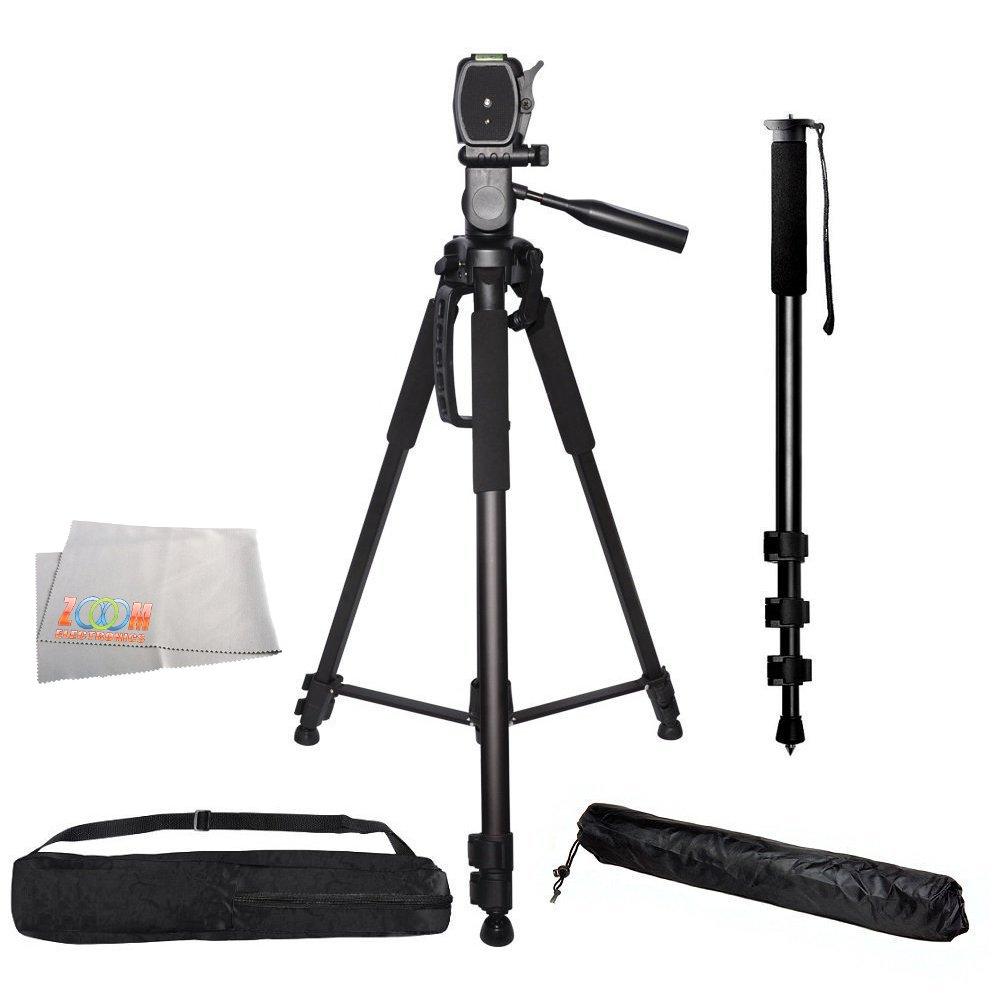 Professional 72-inch Tripod 3-way Panhead Tilt Motion w/ Built In Bubble Level & 72' Monopod w/ Quick Release for Canon Rebel EOS-M M3 SL1 T3 T3i T4i T5 T5i T6 T6i T6s XSI XTI 60D 70D 50D 40D 30D 5D 6D Mark III 7D 7D Mark II 80D 5DS 5DS R Cameras