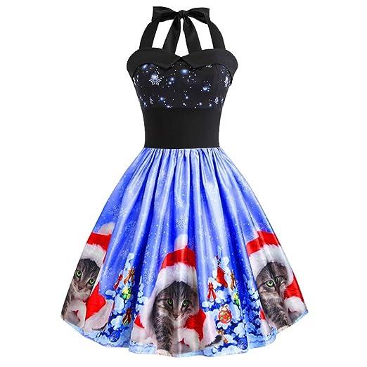 de9cf225c476 Amazon.com: Birdfly Women Super Cute Christmas Cat Print Dress Vintage Slip  Halter Hepbutn Pleated Dress Ball Gown: Clothing