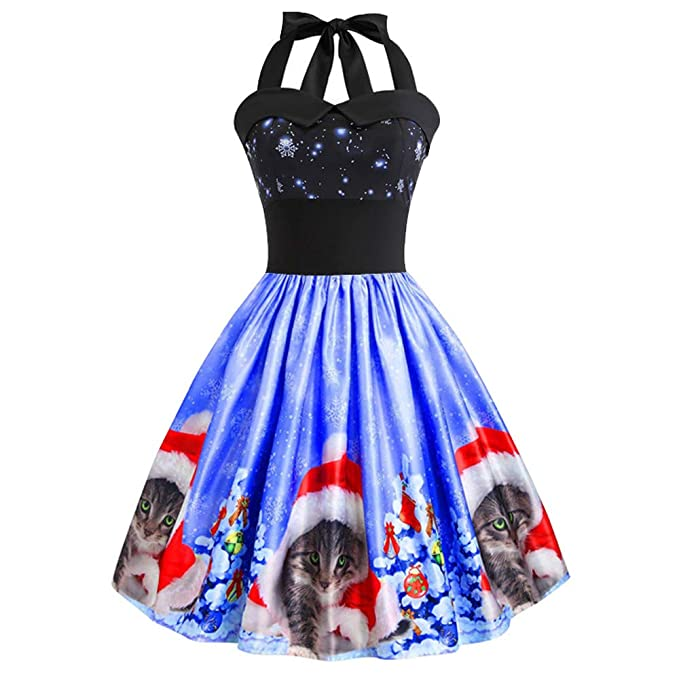 Women Christmas Halter Dress Vintage Cats Printing Sleeveless Off Shouder Skirts Ladies Evening Party Prom Swing Dress at Amazon Womens Clothing store: