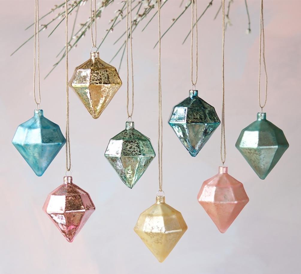 Amazon.com: Glitterville Diamond Shape Christmas Ornaments, Mercury ...