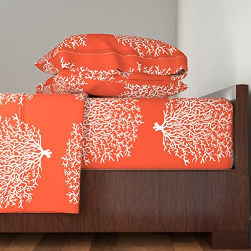 Roostery Coral Reef 3pc Sheet Set Coral Reef Orange by Honoluludesign Twin Sheet Set made with by Roostery