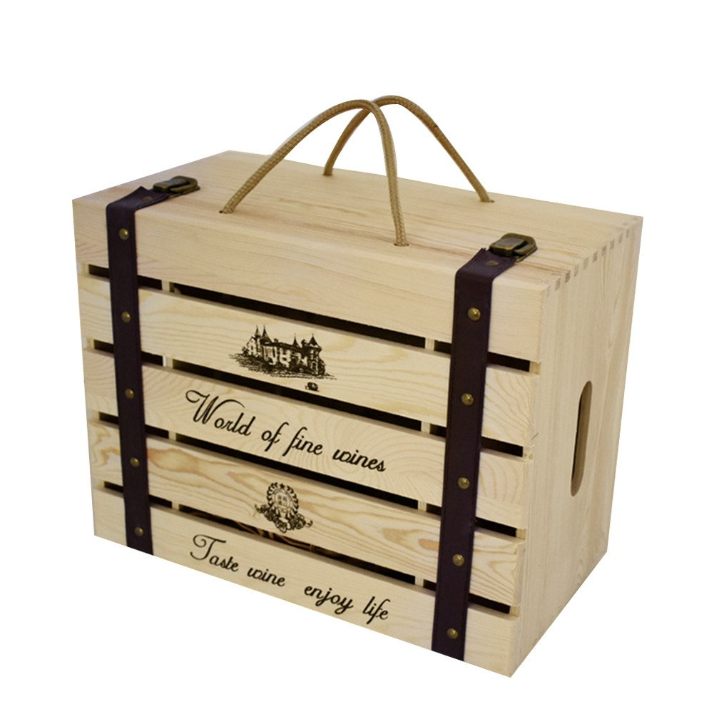 6 Bottle Wooden Gift Box For Birthday Anniversary And