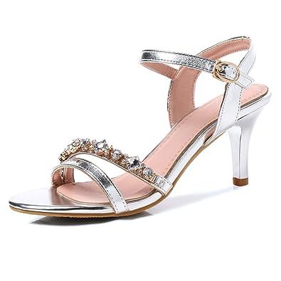 e6b17d24d9e OALEEN Sandales Vernis Femme Bout Ouvert Strass Bride Cheville Talon Haut  Aiguille Chaussures Soirée