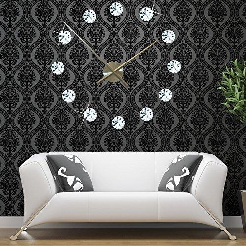 Diamond Outdoor Clock - Y-Hui Diy Wall Clock 3D Stereo Diamond Clock Oversized Acrylic Wall Clock,20 Inches,Gules