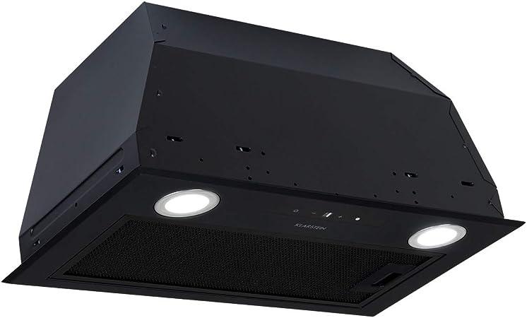 Klarstein Paolo 52 campana extractora - clase A, 52,5 cm de ancho, extracción de 600m³/h, 200 W, filtro de grasa de aluminio, iluminación LED, control táctil, acero inoxidable, ventilación, negro: Amazon.es: Hogar
